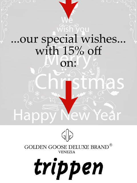 Promo discount on Golden Goose Deluxe Brand and Trippen items!